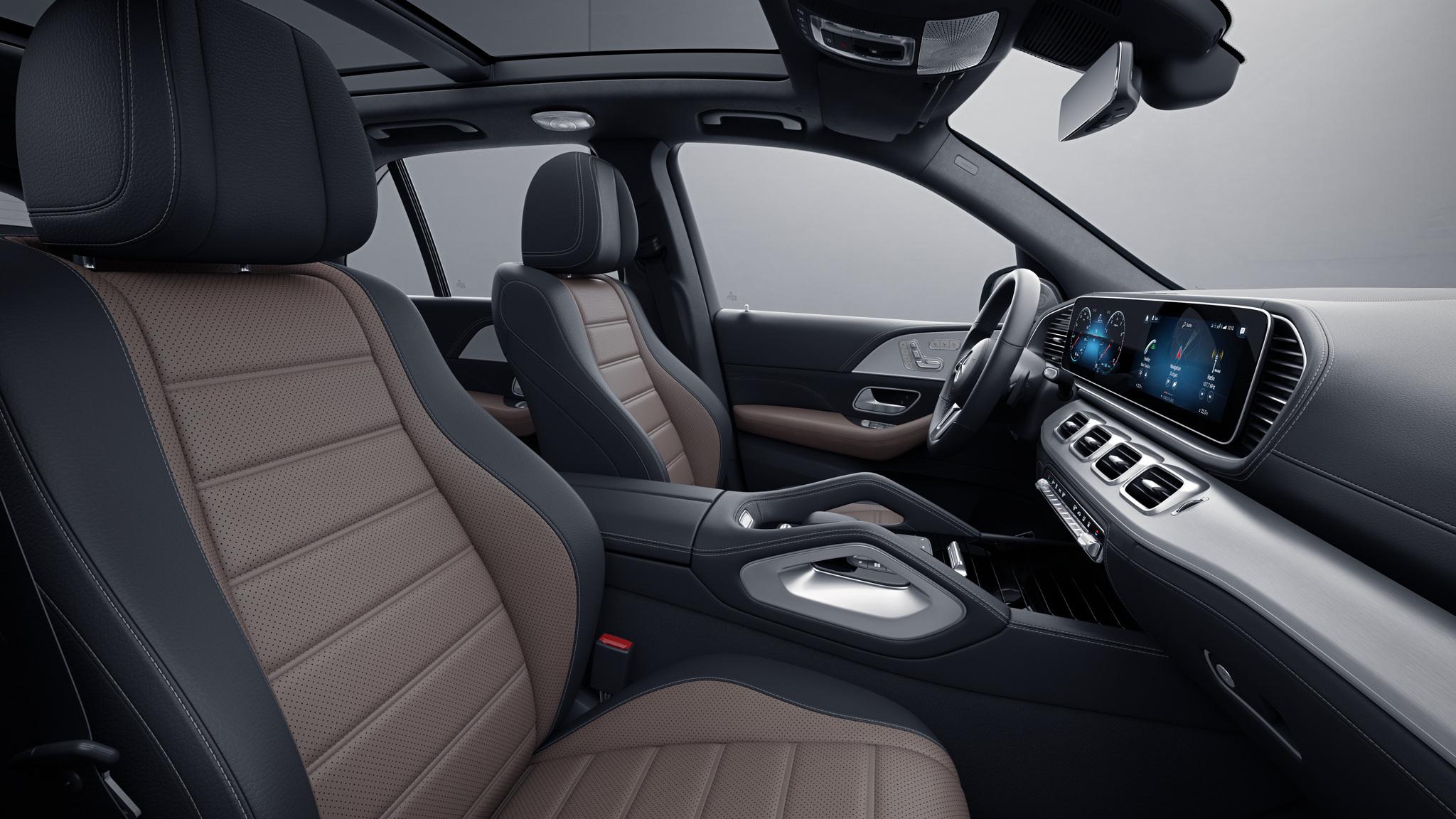Habitacle de la Mercedes GLE -  Sellerie  Cuir Rough cuir bicolore - marron tartuffe  noir