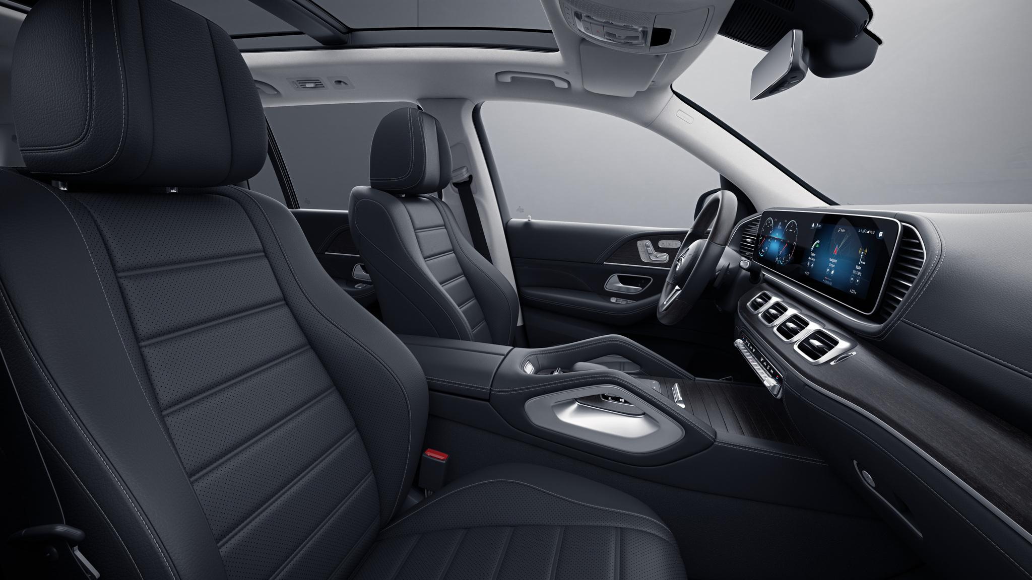 Habitacle de la Mercedes GLS avec une sellerie cuir Noir