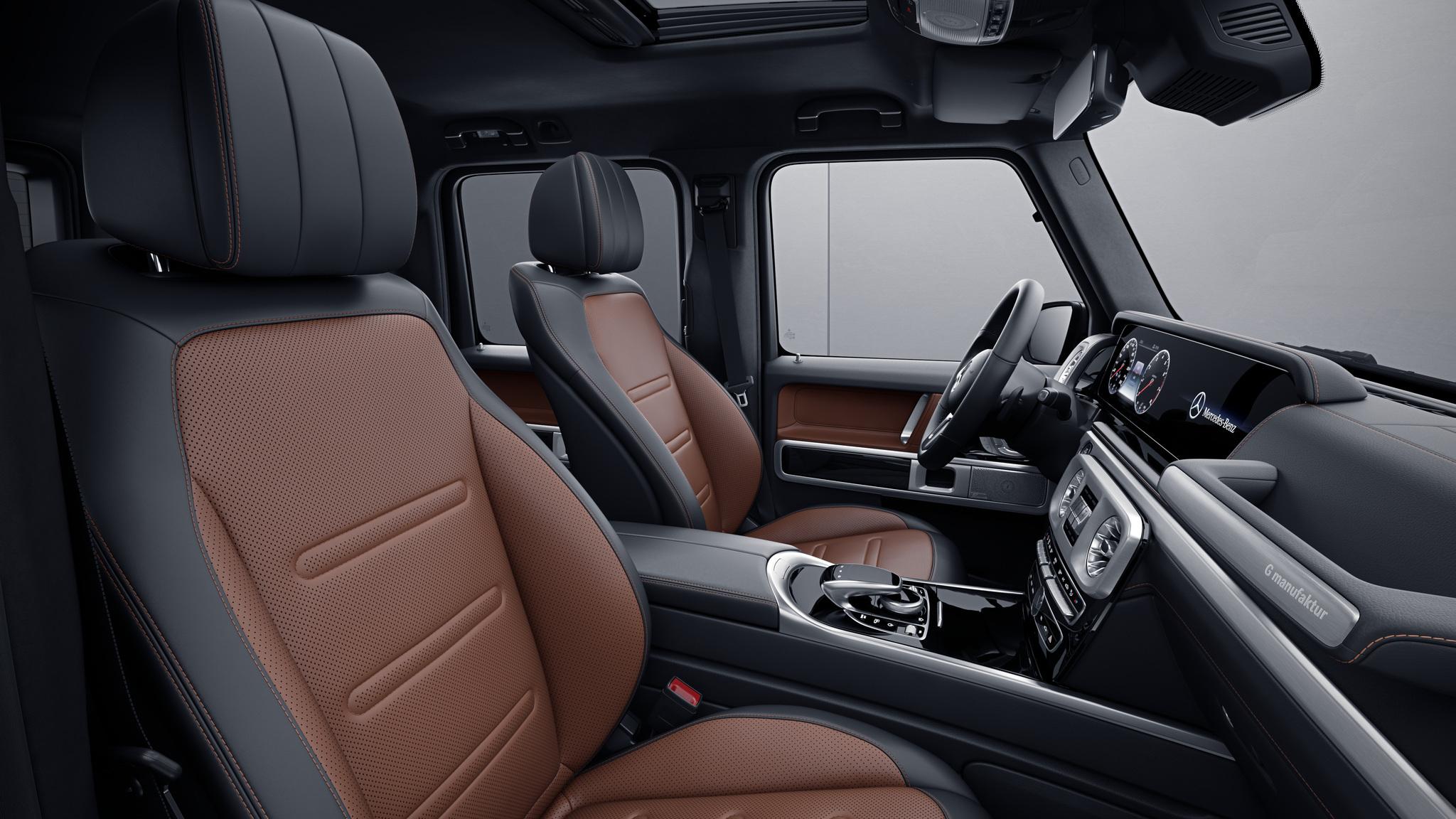 Habitacle de la Mercedes Classe G, Cuir Nappa bicolore G manufaktur - Marron cuir noir