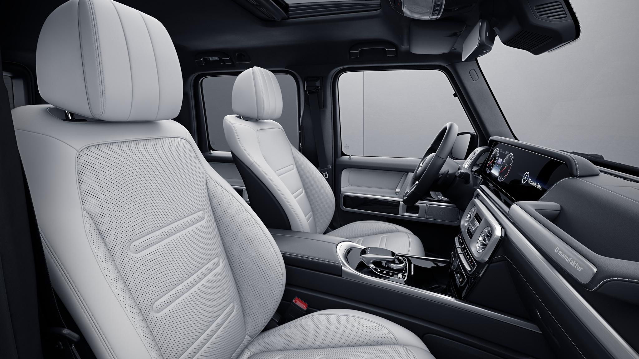 Habitacle de la Mercedes Classe G type Cuir Nappa G manufaktur - Blanc platine