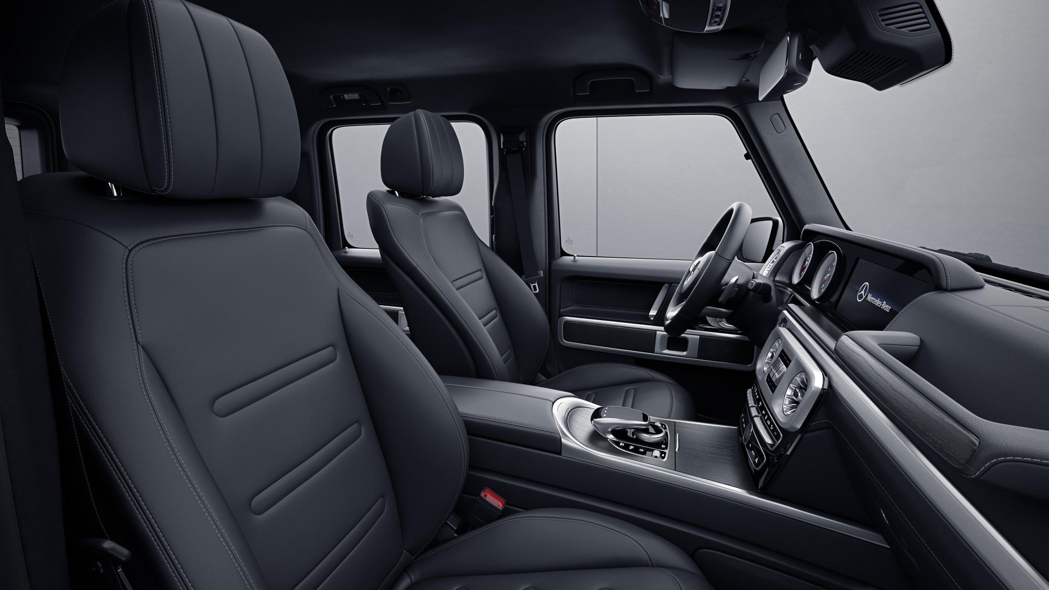 Habitacle de la Mercedes Classe G avec une sellerie cuir AMG Line Noir