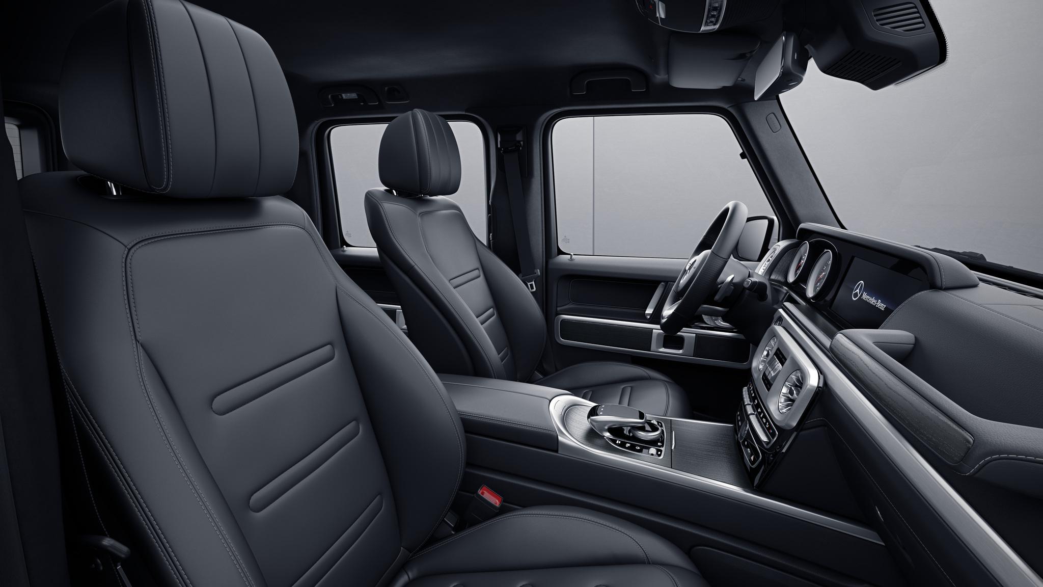 Habitacle de la Mercedes Classe G avec une Sellerie cuir nappa noir