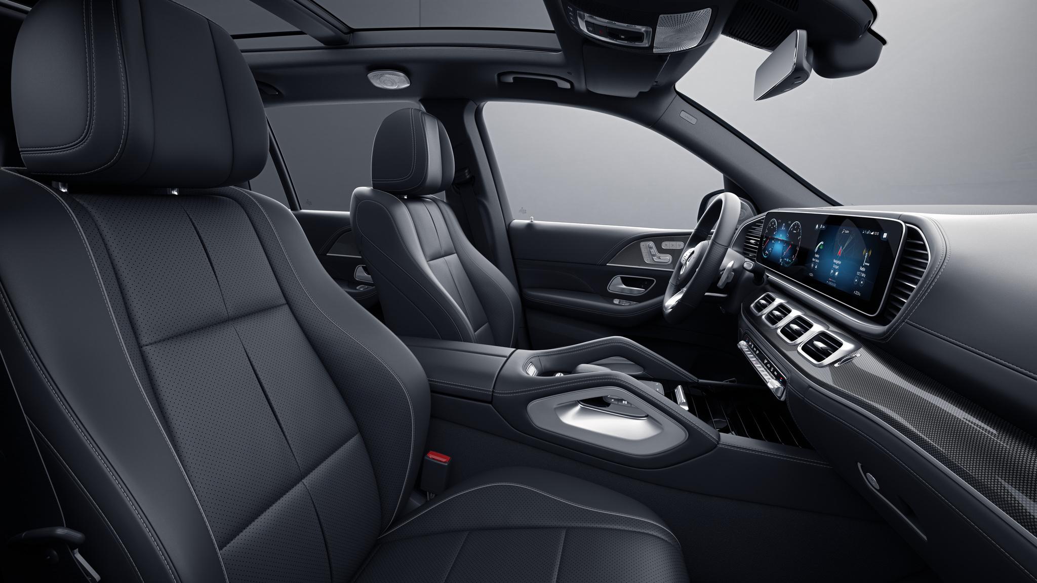 Habitacle de la Mercedes GLS avec une Sellerie cuir nappa noir