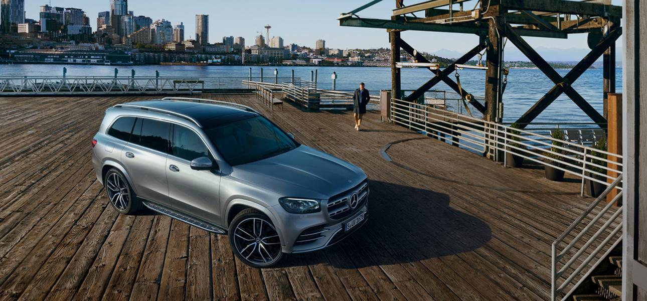 Mercedes GLS Grise en arrêt  - vue de trois quarts de profil