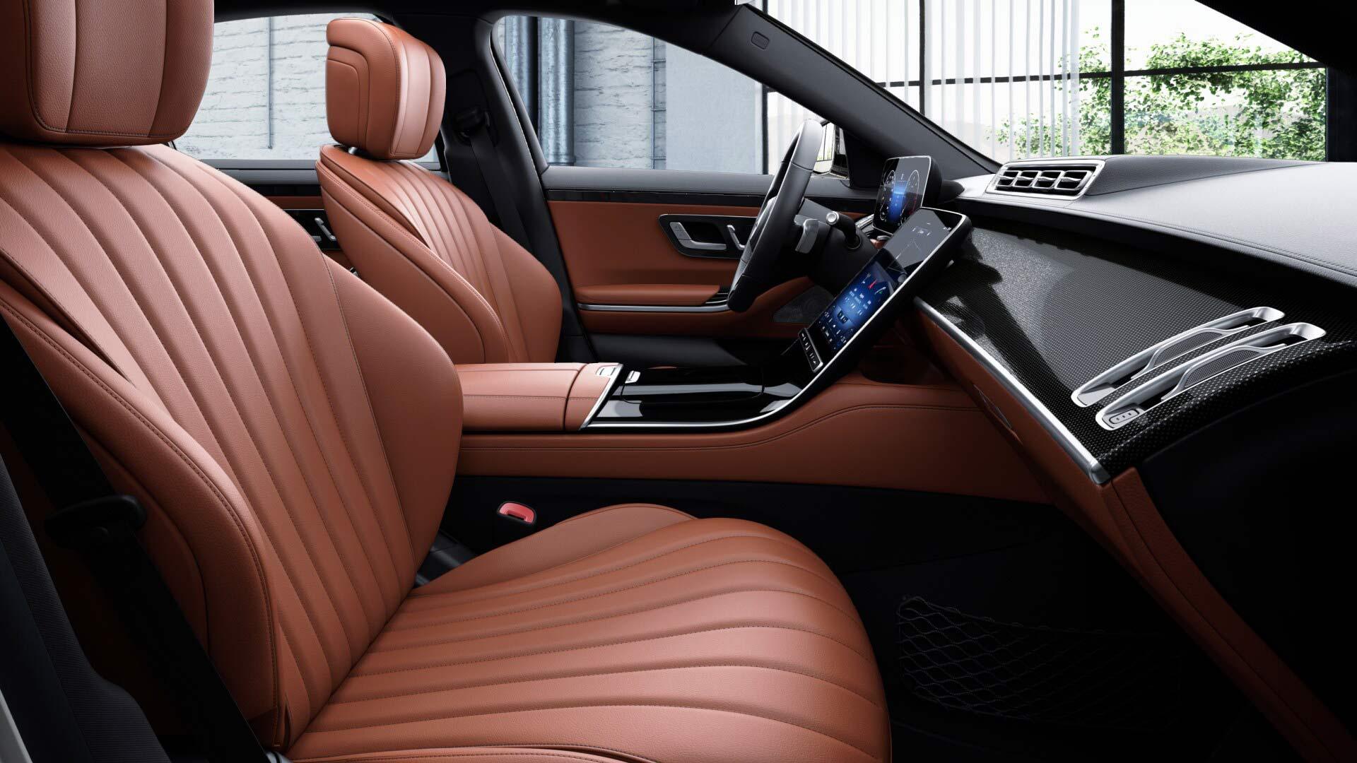 Sellerie arrière de la Mercedes Classe S Limousine Finition Business - Couleur Marron
