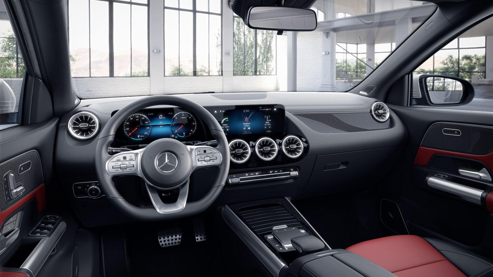 Intérieur de la Mercedes GLA Finition AMG Line plus - Couleurs rouge et noir