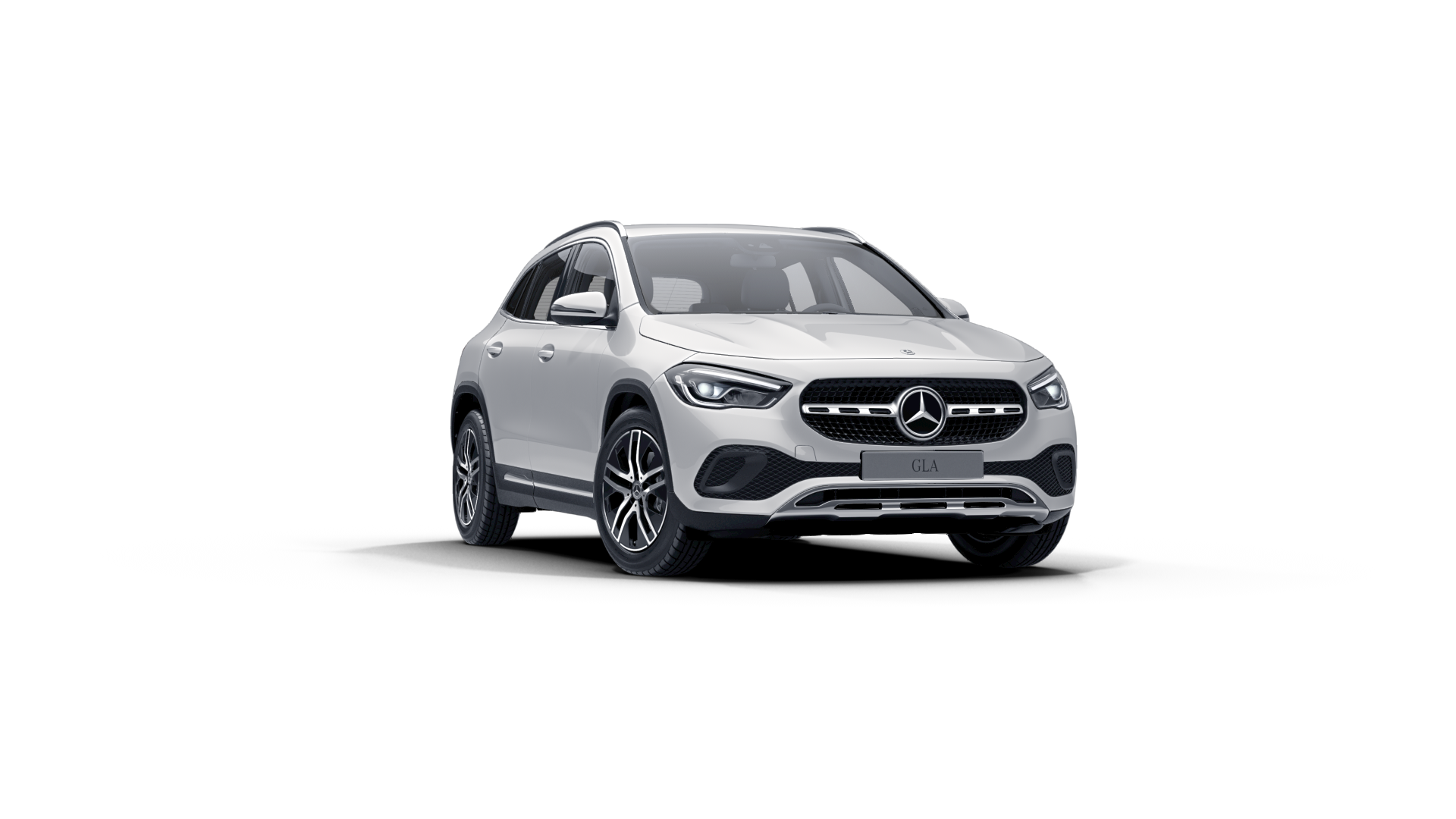 Mercedes Benz GLA noire Finition Progressive : Vue de trois quarts de profil à l'arrêt