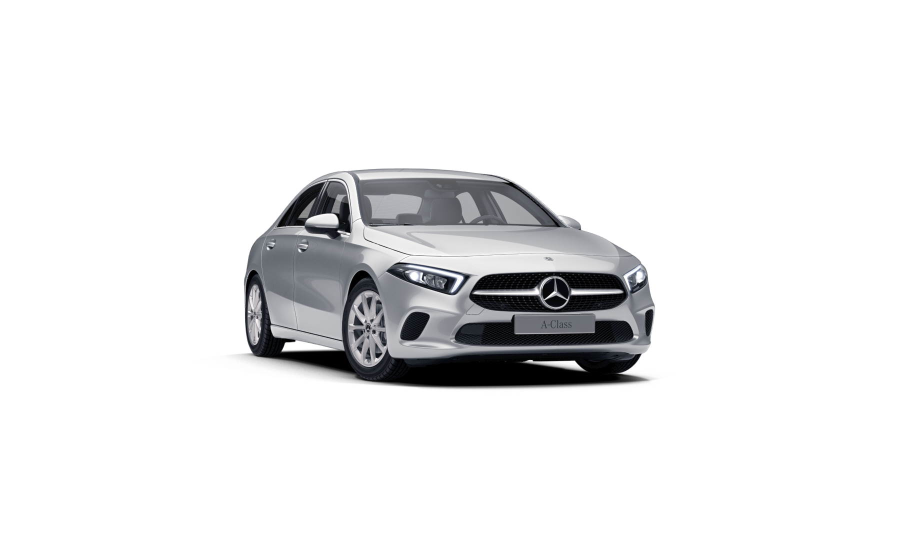 Mercedes Benz Classe A Berline Blanche Finition Progressive : Vue de trois quarts de profil à l'arrêt