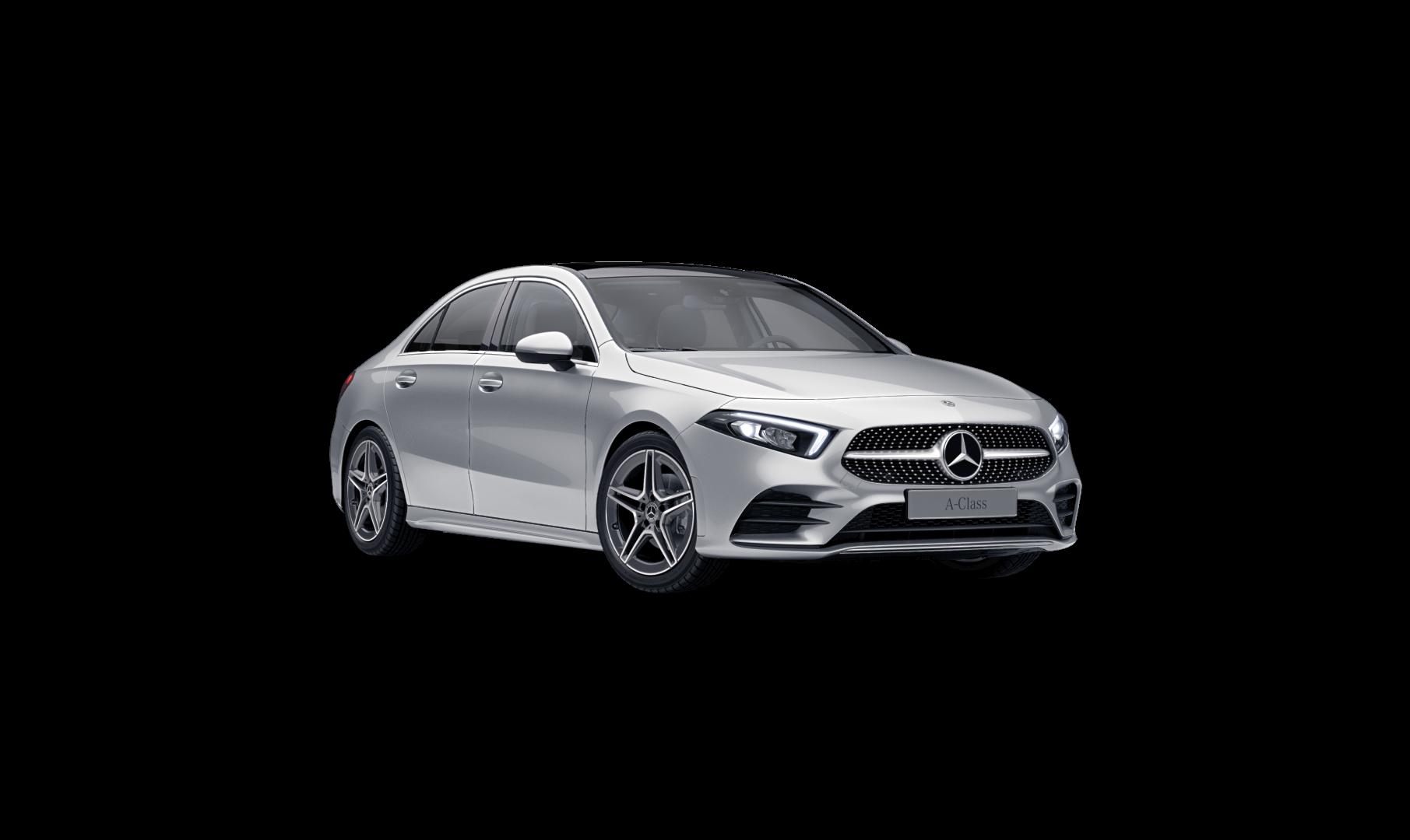 Mercedes Benz Classe A Berline Grise Finition Progressive : Vue de trois quarts de profil à l'arrêt