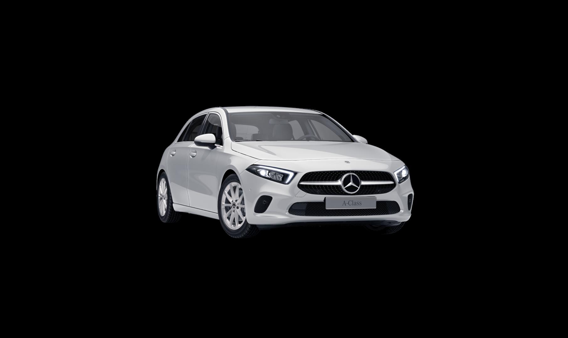 Mercedes Benz Classe A  Finition Progressive : Vue de trois quarts de profil à l'arrêt