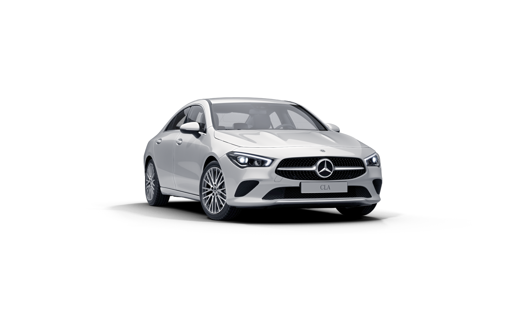 Mercedes Benz CLA Finition Progressive, Vue de trois quarts de profil à l'arrêt