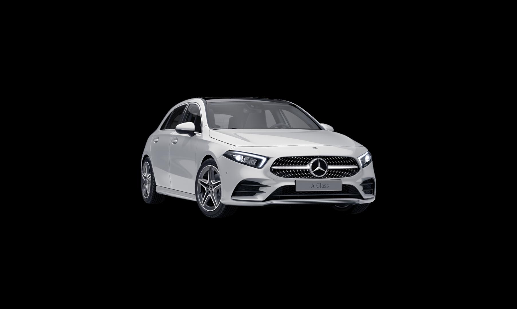 Mercedes Benz Classe A  Finition AMG Line : Vue de trois quarts de profil à l'arrêt avec une couleur noir
