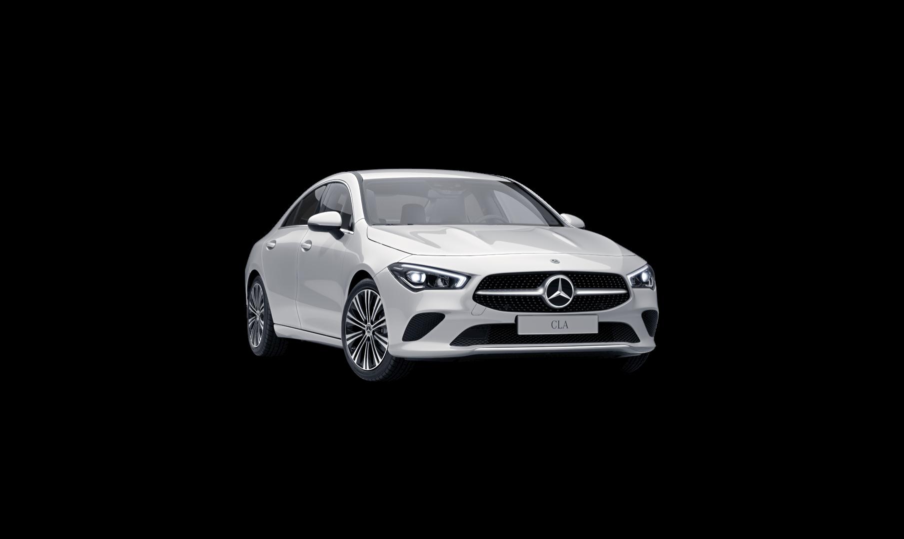 Mercedes Benz CLA Finition Style, Vue de trois quarts de profil de l'avant à l'arrêt