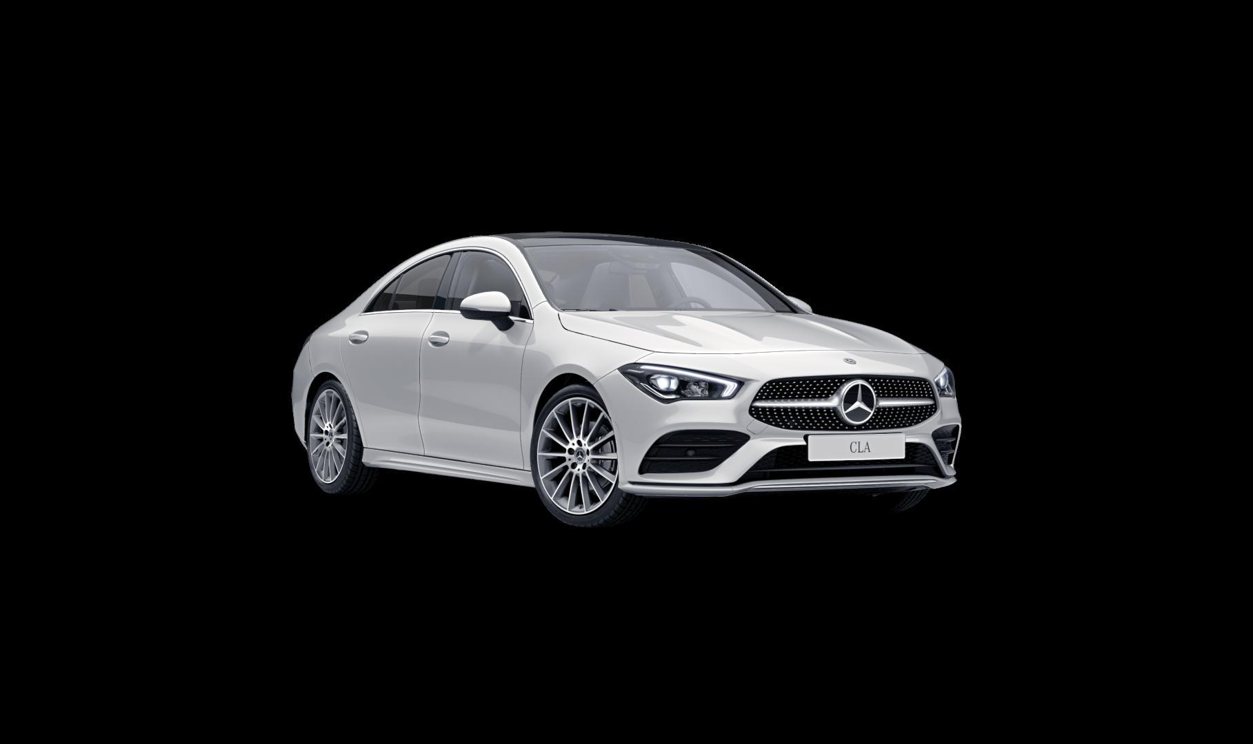 Mercedes Benz CLA Finition AMG Line +, Vue de trois quarts de profil de l'avant à l'arrêt