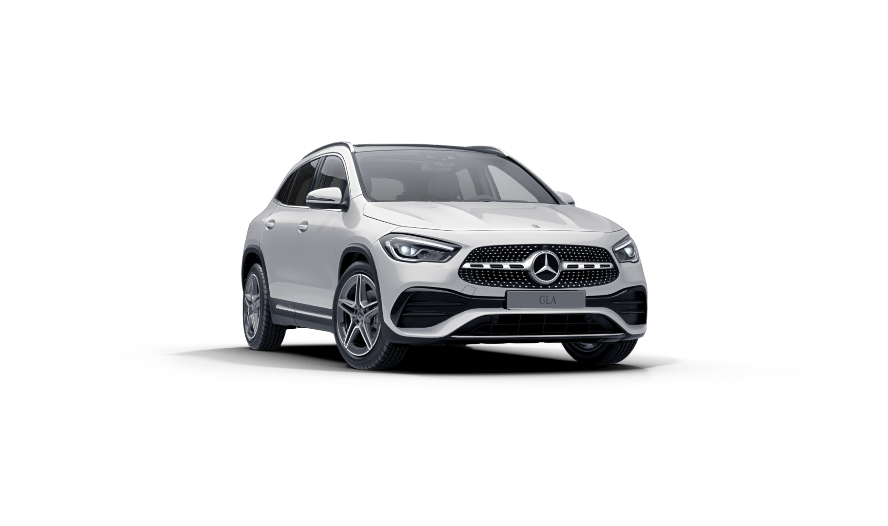 Mercedes Benz GLA Finition AMG Line : Vue de trois quarts de profil à l'arrêt