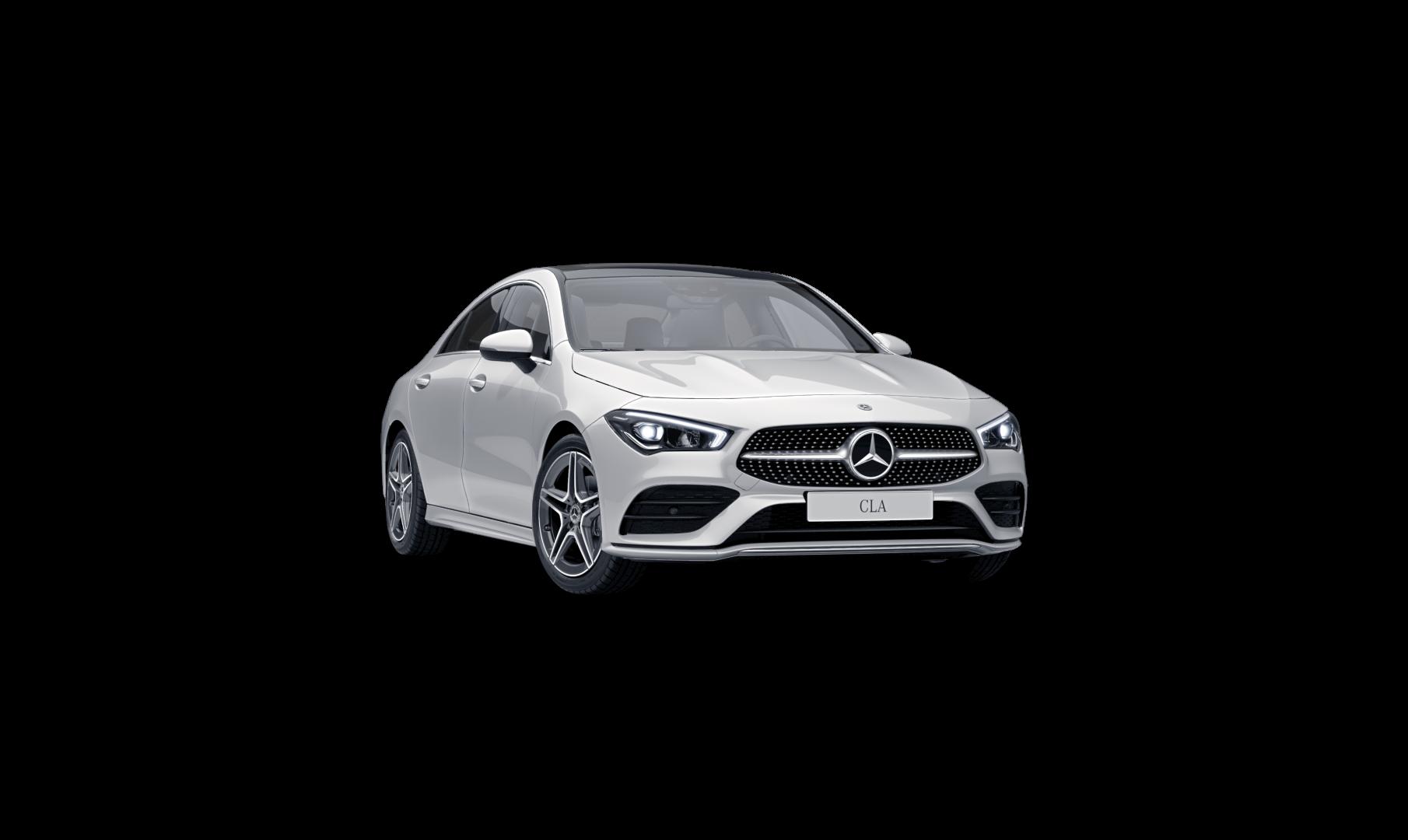 Mercedes Benz CLA Finition AMG Line, Vue de trois quarts de profil de l'avant à l'arrêt