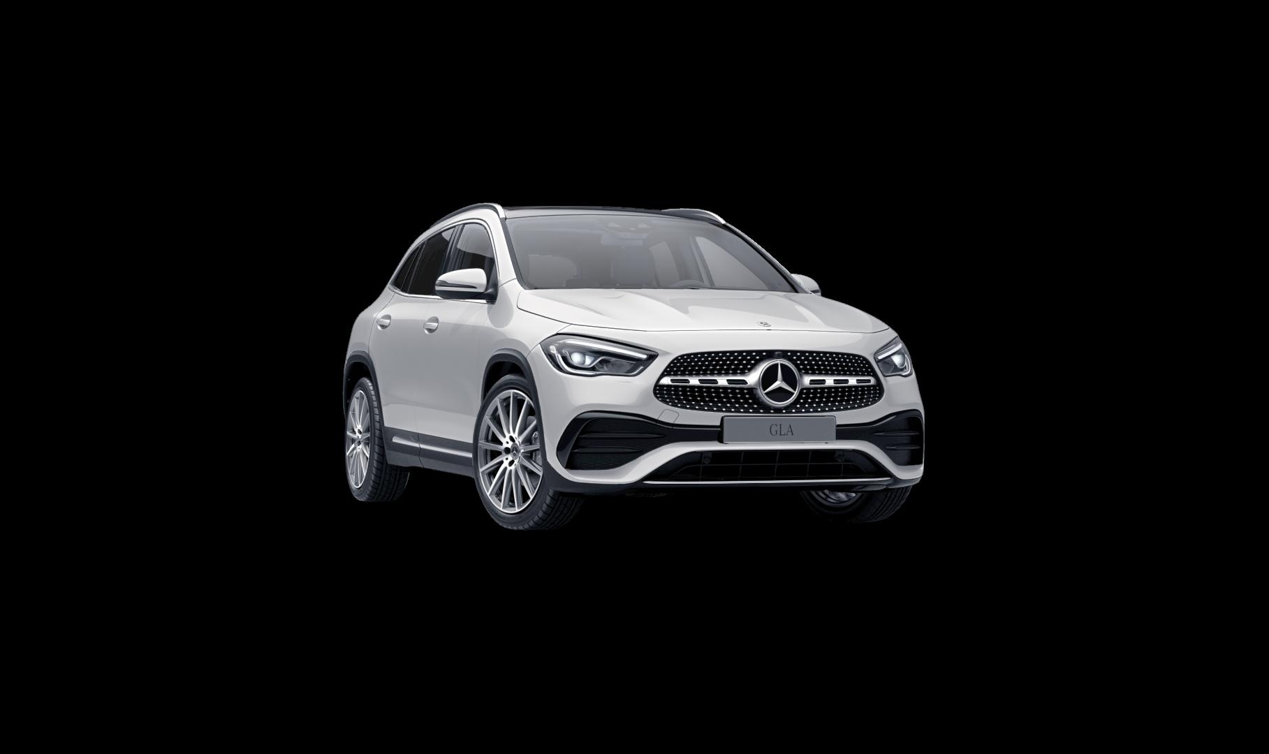 Mercedes Benz GLA blanche Finition AMG Line Plus : Vue de trois quarts de profil à l'arrêt