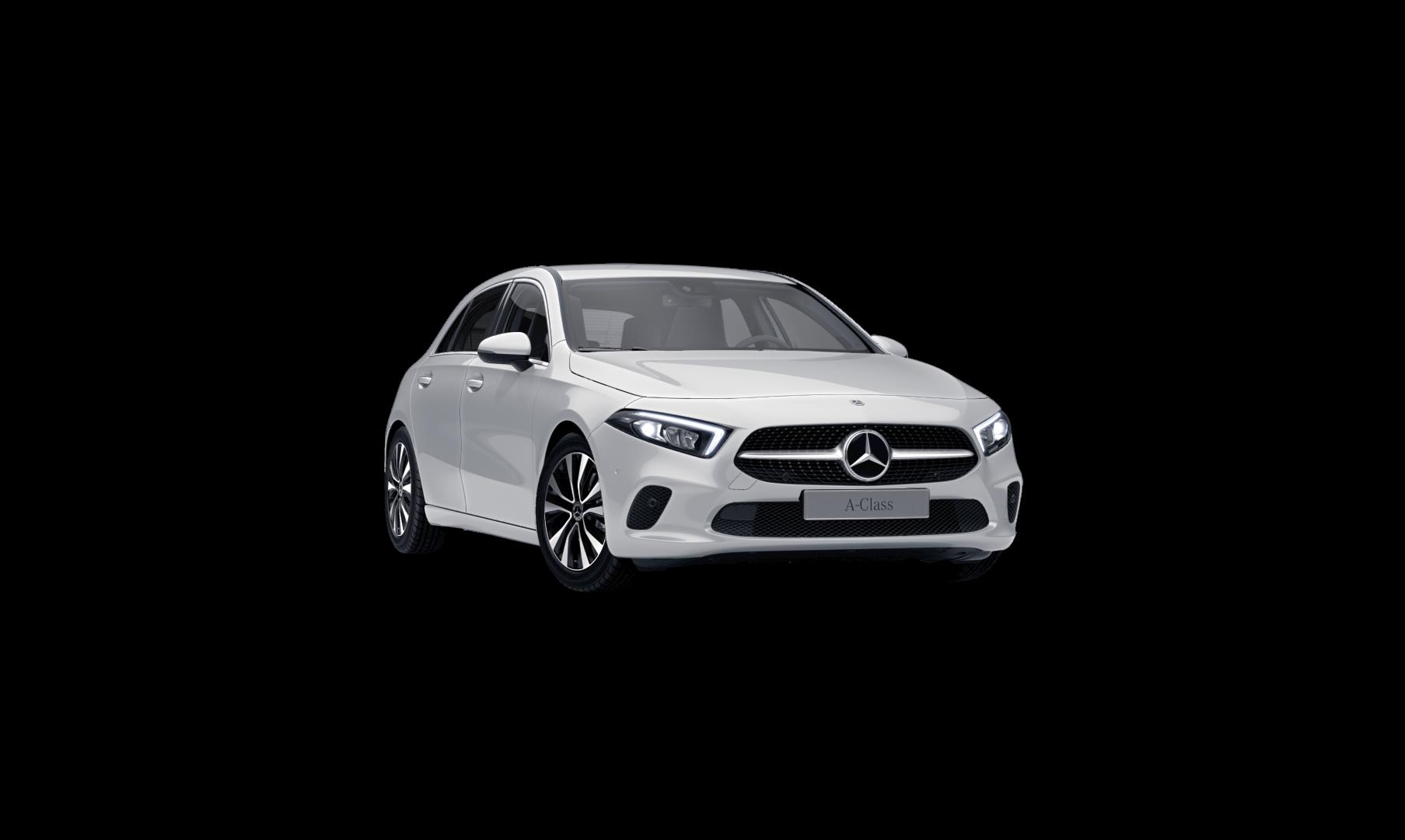 Mercedes Benz Classe A Grise Finition Style : Vue de trois quarts de profil à l'arrêt